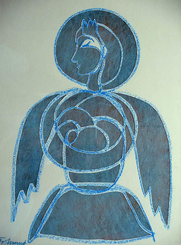 Blaue Madonna, Licht von vorne