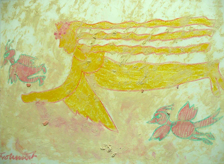 Geflügeltes Wesen mit schrägen Vögeln